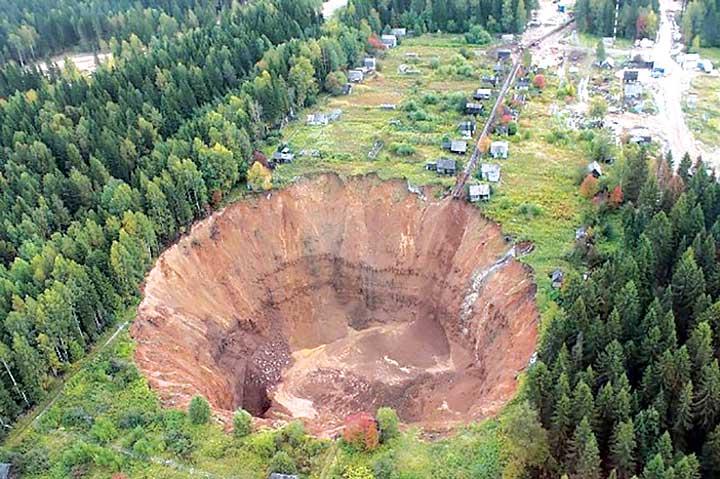 Sinkhole in Siberia